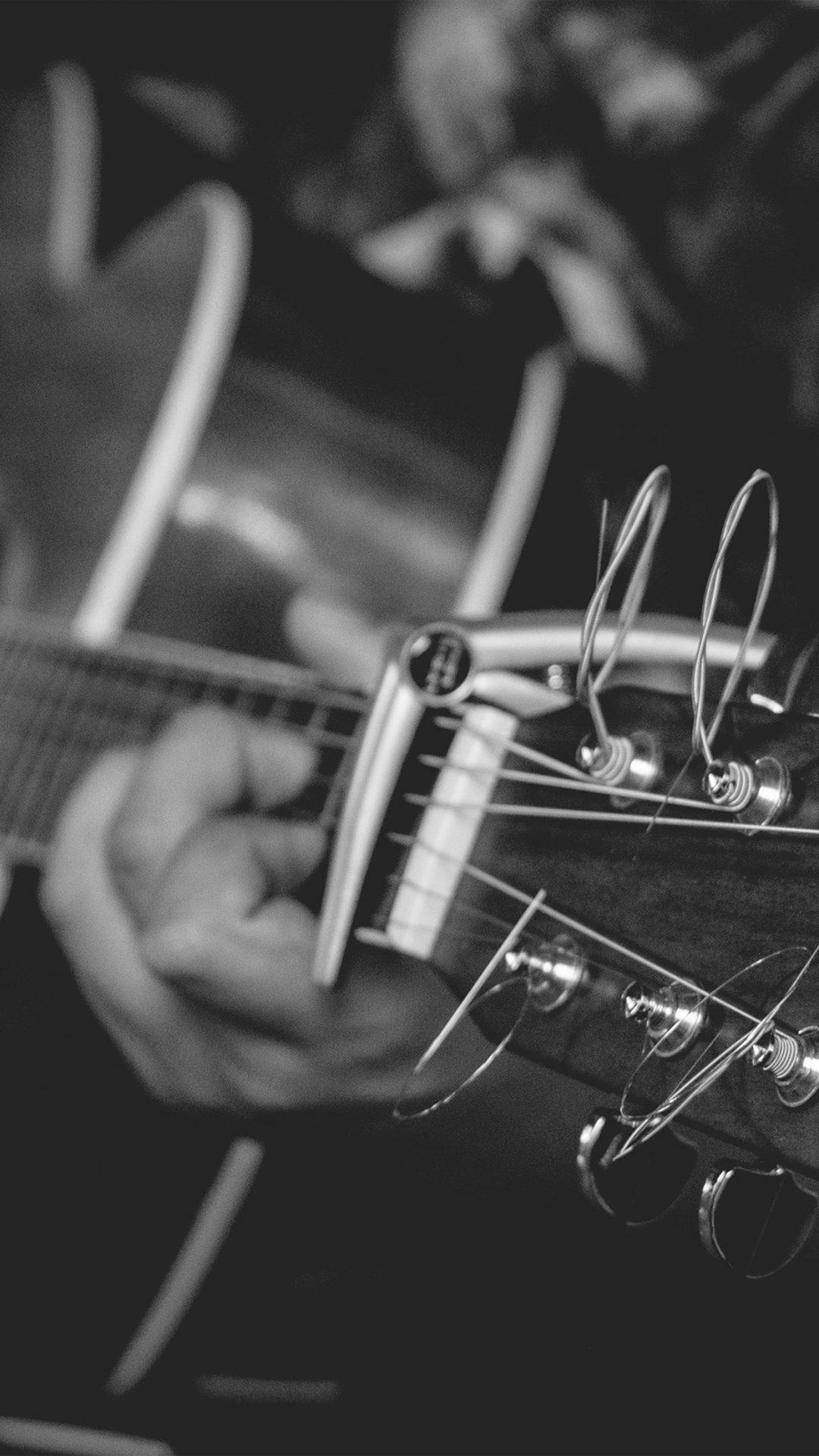 Guitar Music Art Bw Dark