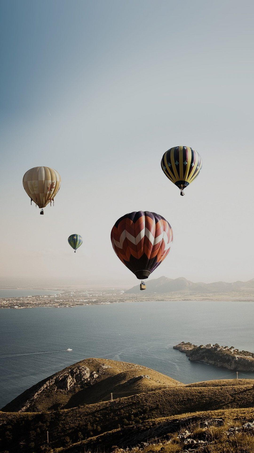Hot Air Balloon Sky Seaside Nature