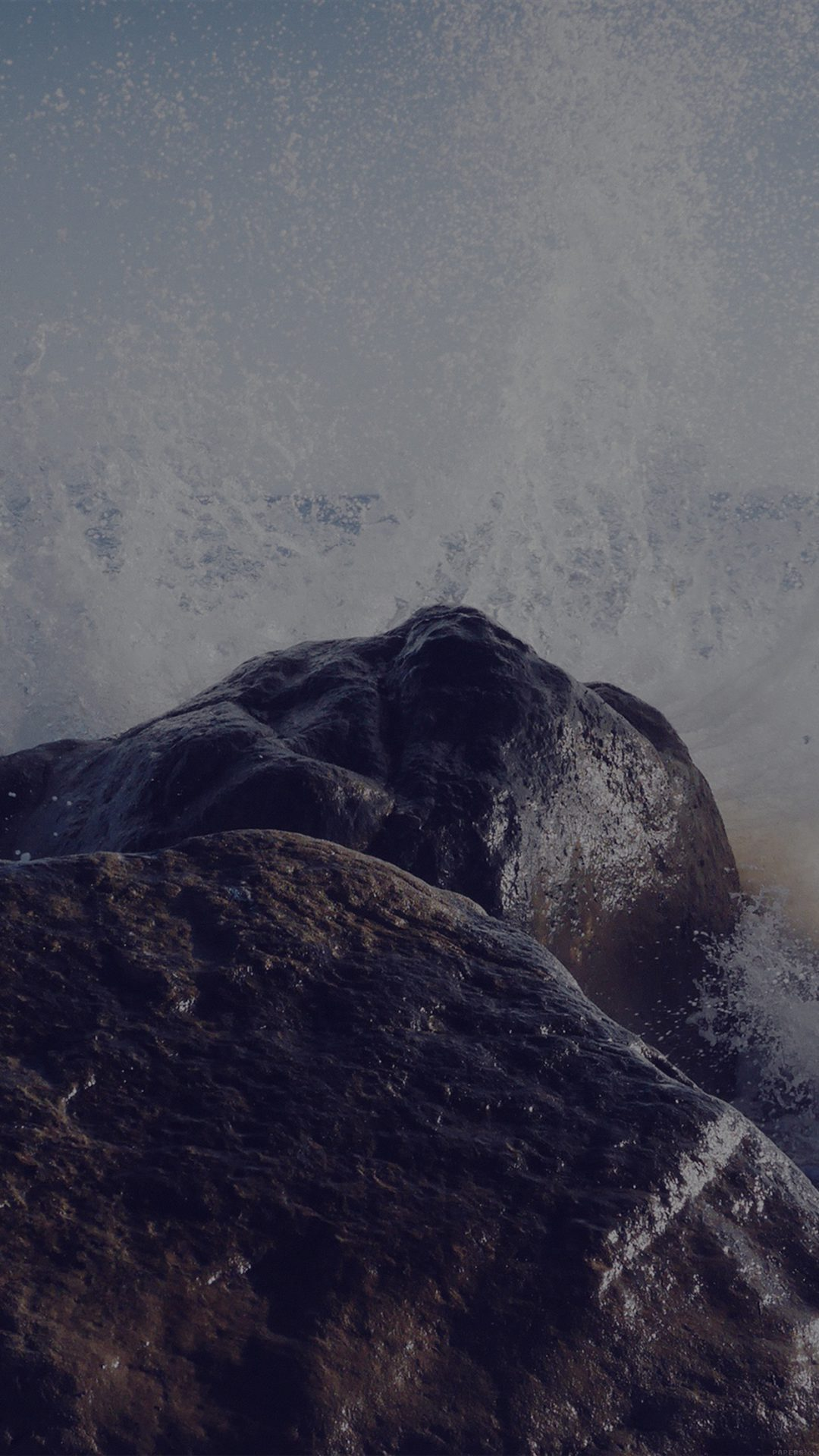 Justin Leibow Sea Wave Rock Beach Dark Nature