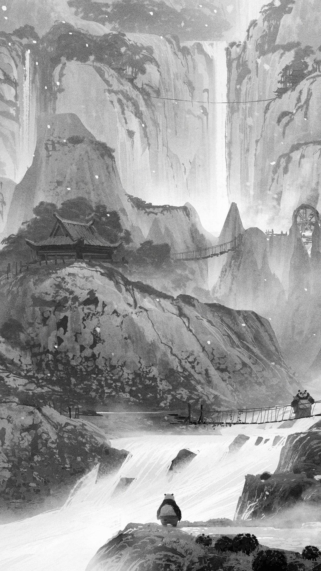 Kungfu Panda Background Art Illust Film Dark Bw