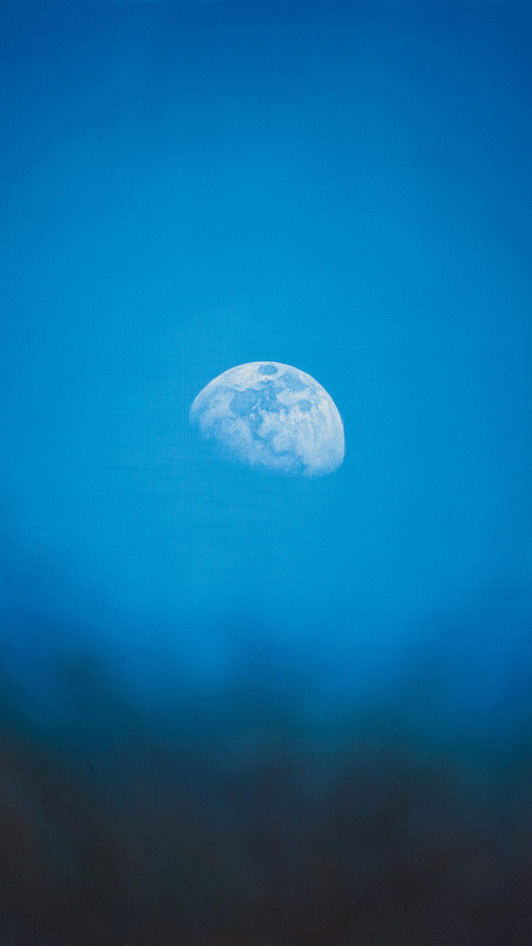 Moon Rise Day Nature Blue Dark Night