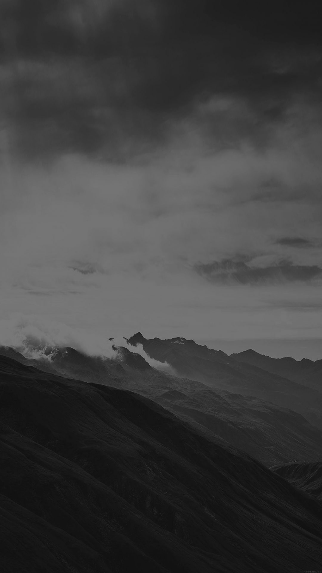 Mountain Art Fog Nature Dark Bw