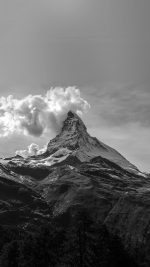 Mountain Snow Sky Nature Bw