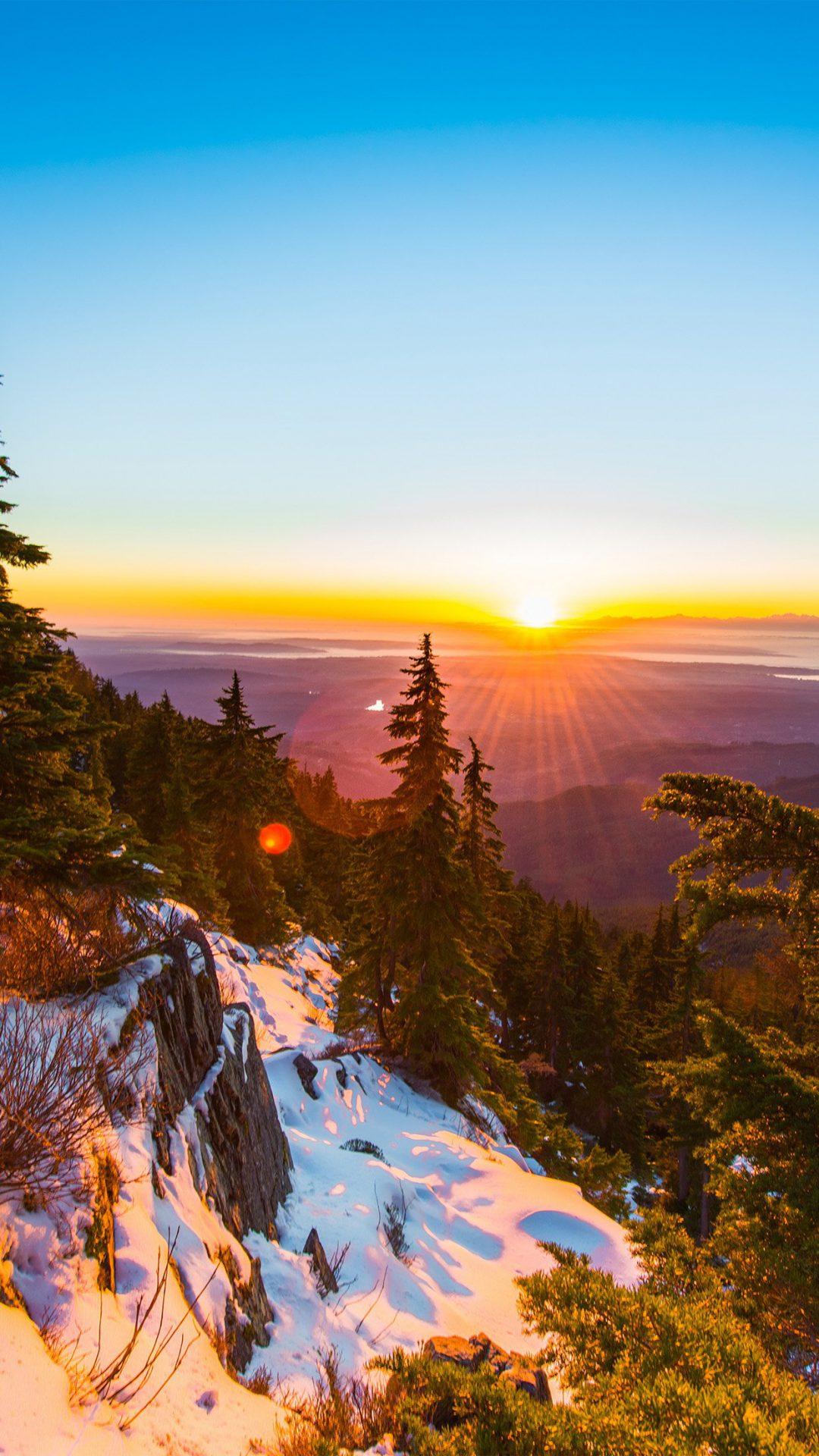 Mountain Snow Winter Sunset Wood Nature