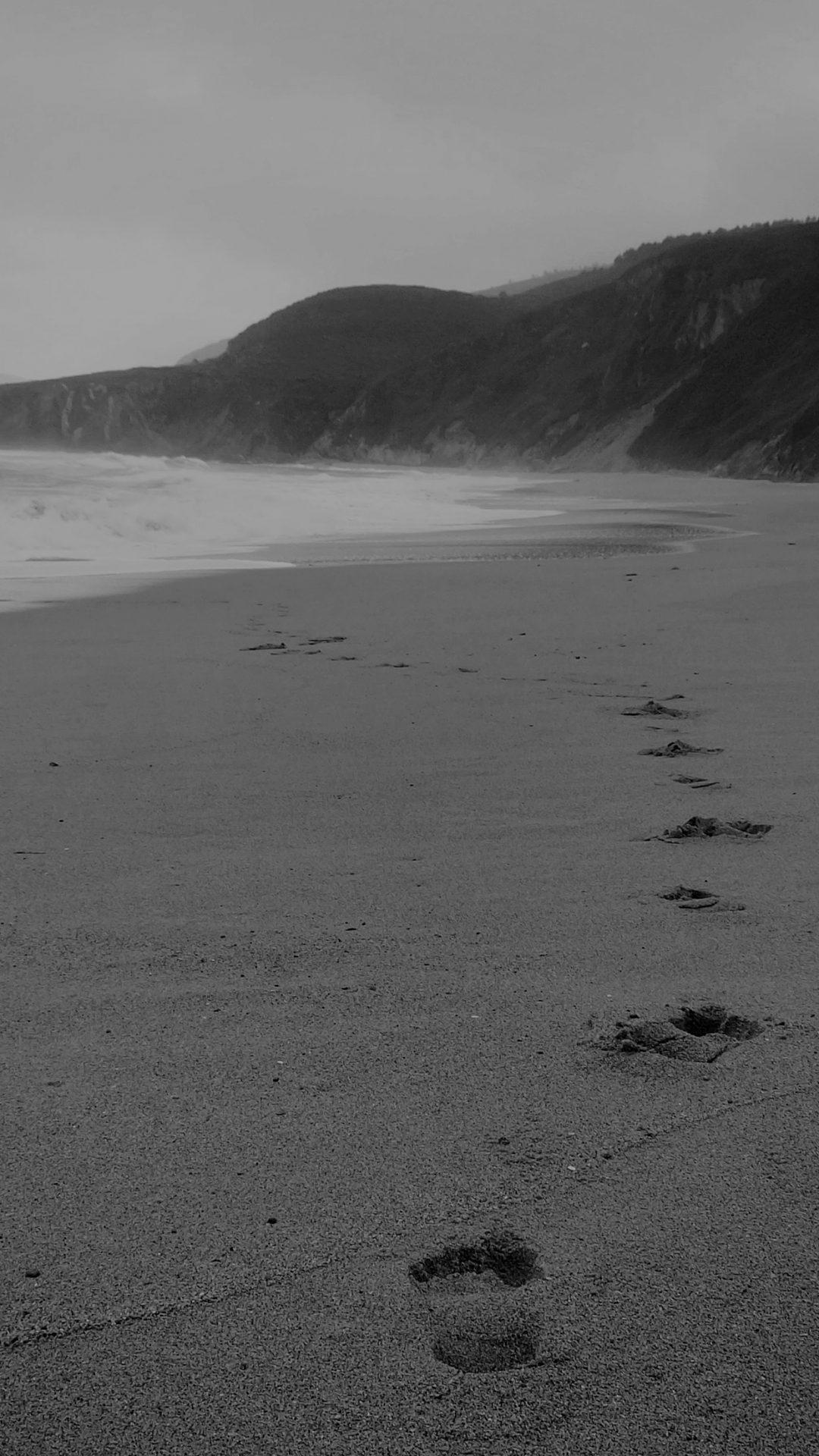 Naked Walk Sea Beach Nature Pure Dark Bw