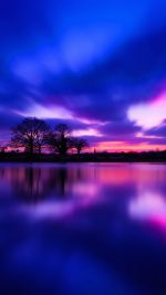 Night Lake Blue Sunset Nature Soft
