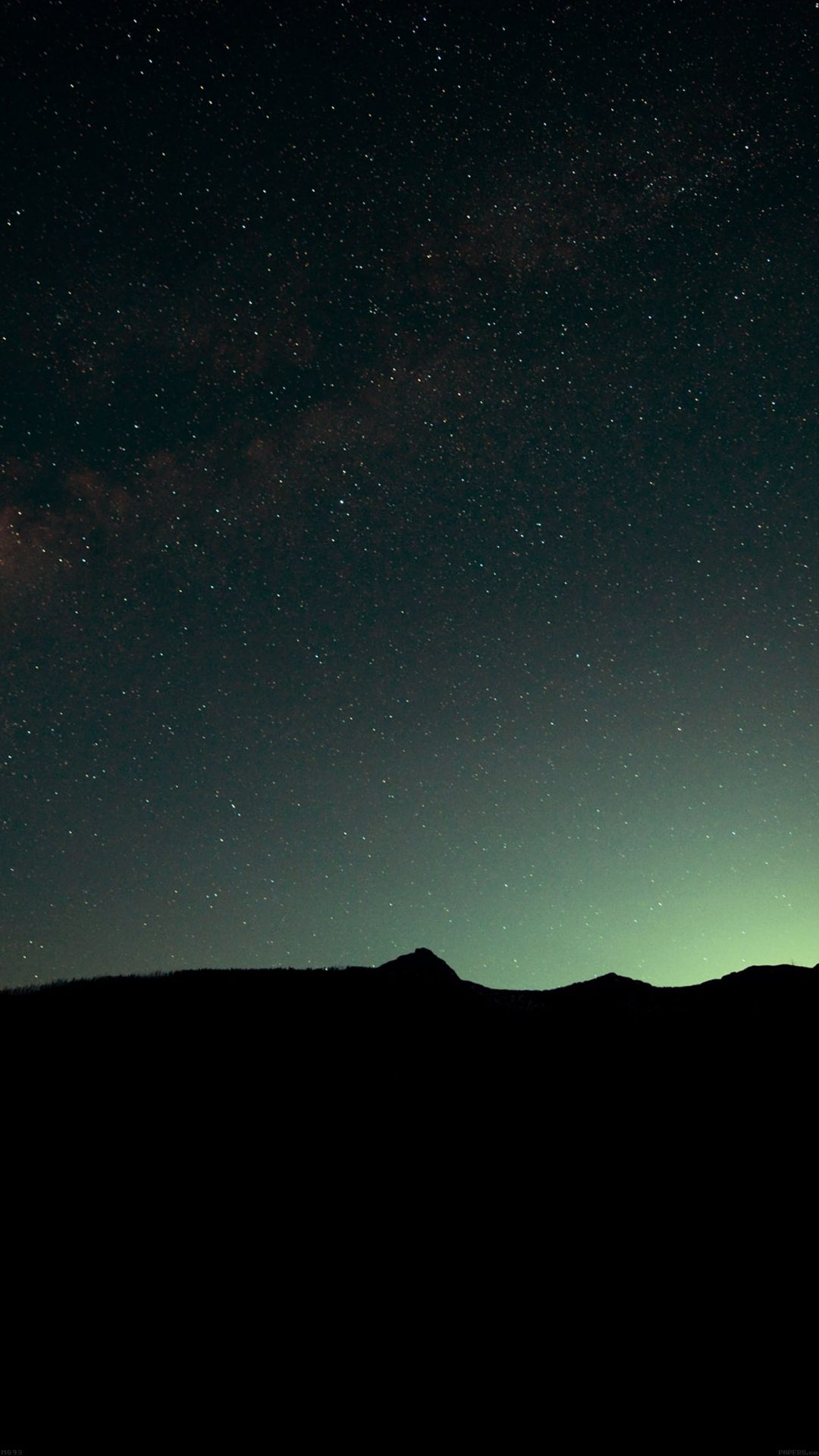 Night Sky Green Wide Mountain Star Shining Nature