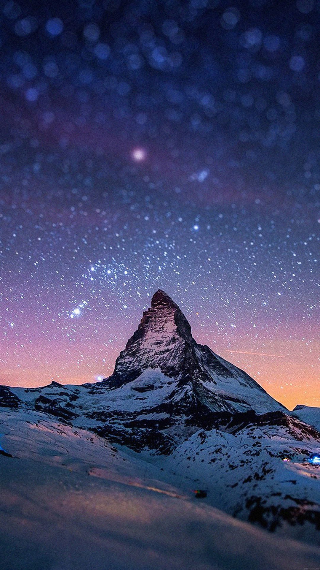 Night Stars Over Moutain Nature Wallpapers For Iphone