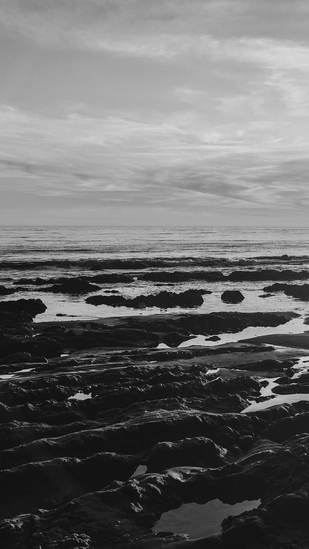 Ocean Sea Water Sky Sunset Afternoon Nature Dark Bw