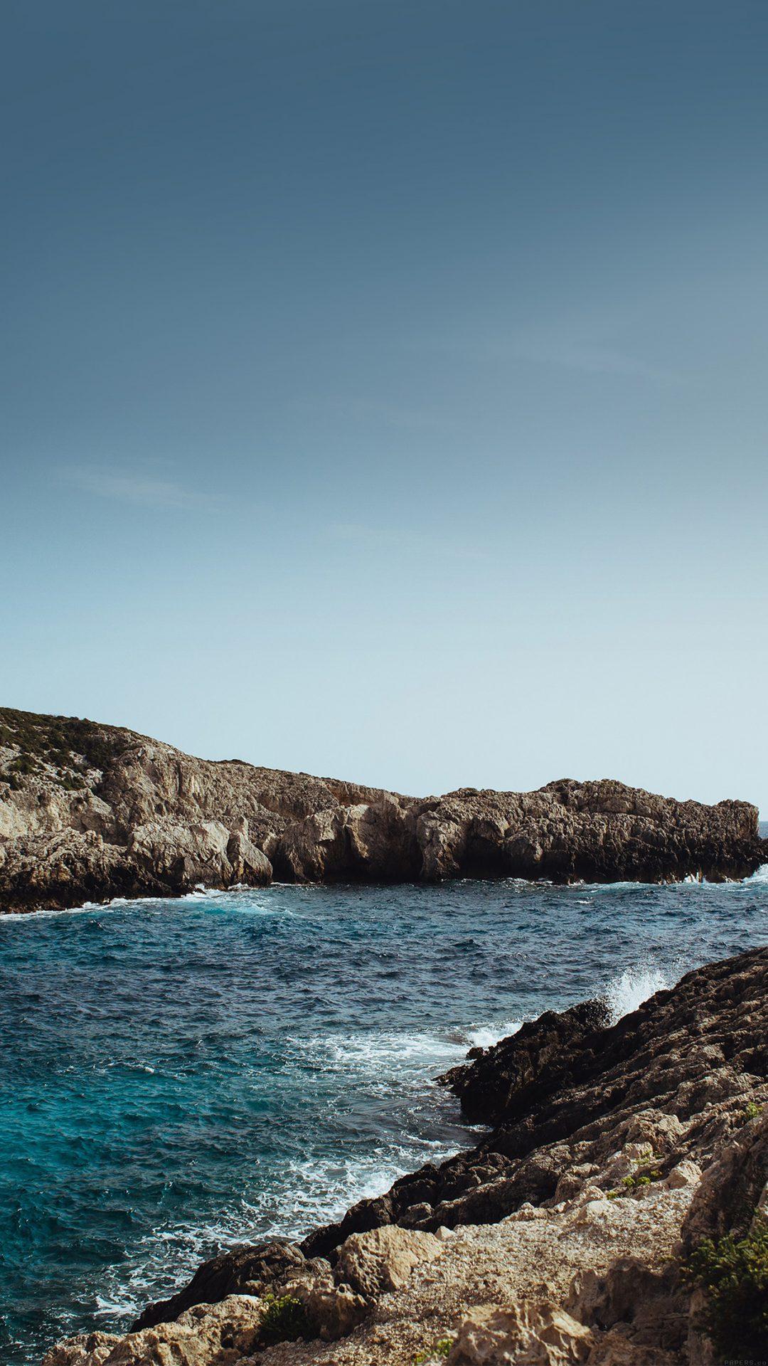 One Sunny Day Beach Rock Sea Nature