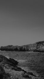 One Sunny Day Beach Rock Sea Nature Black Bw