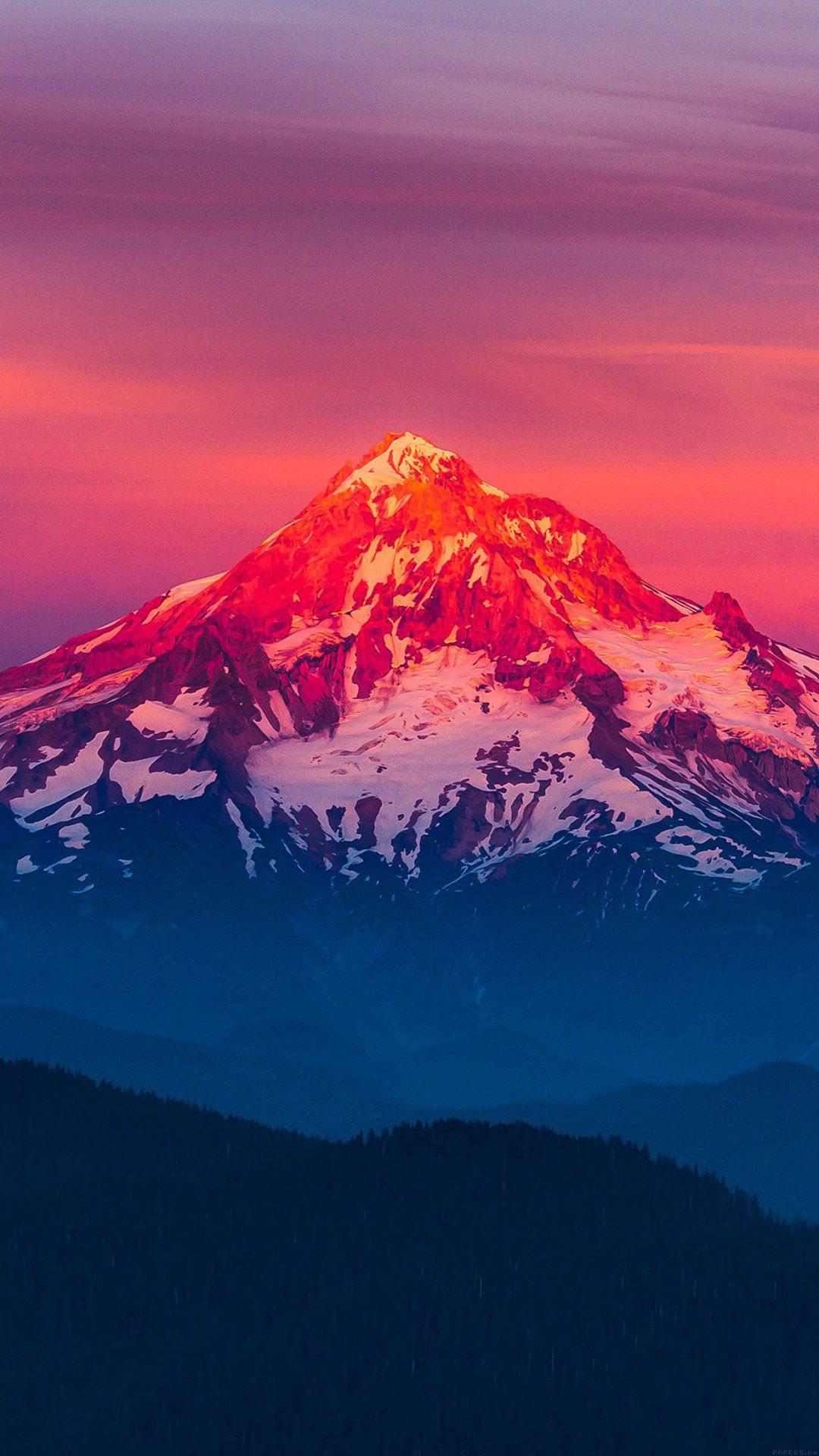 Purple Sunset Snow Mountain Nature