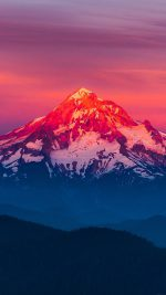 Purple Sunset Snow Mountain Nature