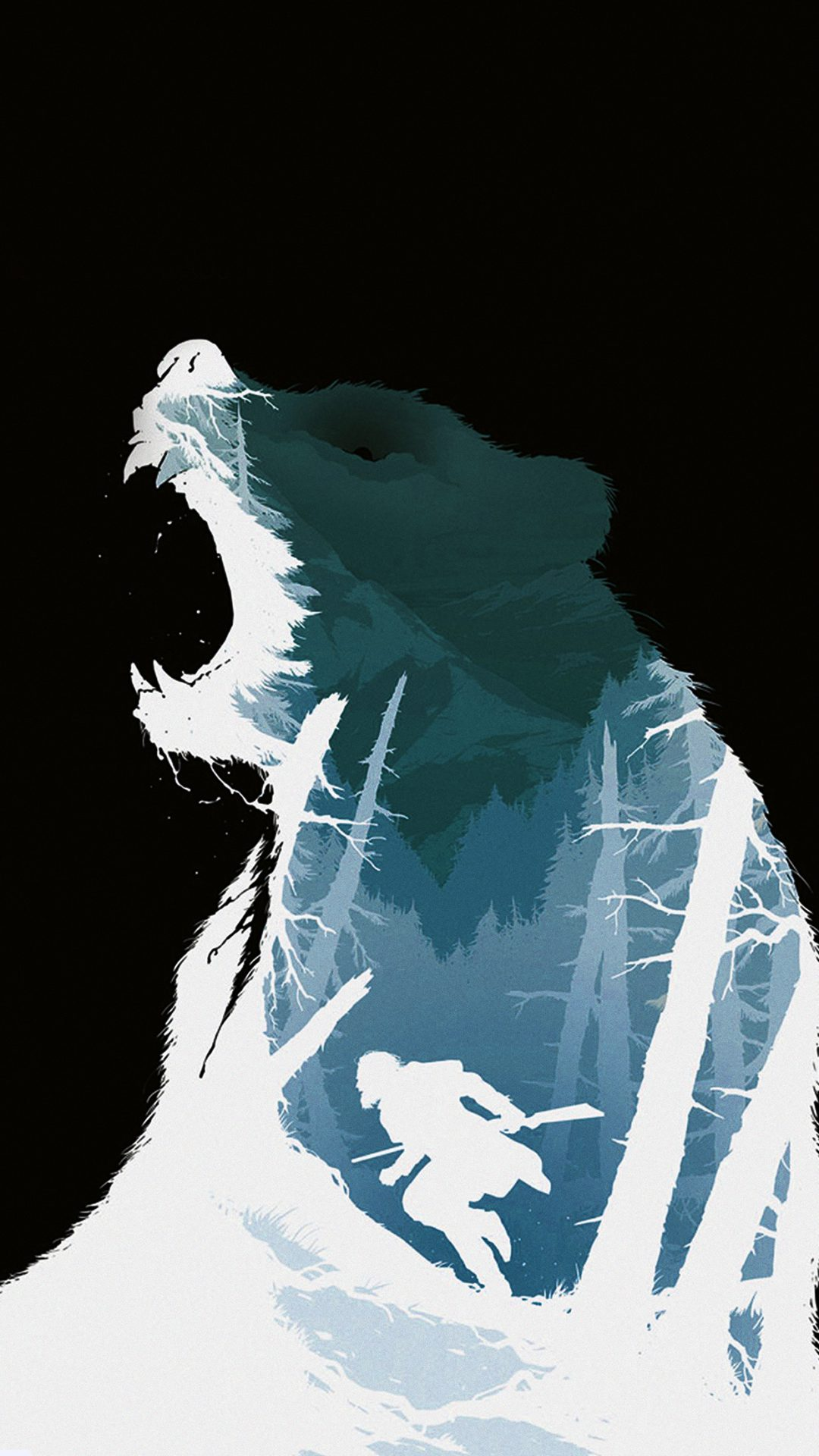 Revenant Dicaprio Poster Film Art Bear Dark