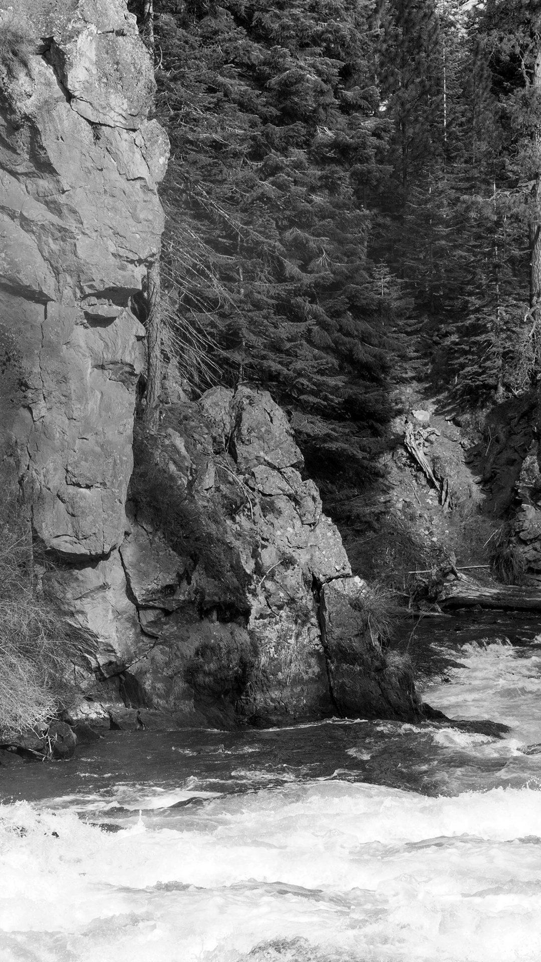River Mountain Descheutes Nature Dark Bw