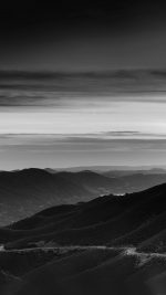 Road Curve Mountain Sunset Nature Lovely Bw Dark