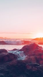 Sea Ocean Nature Sunset Rock Wave Blue Red