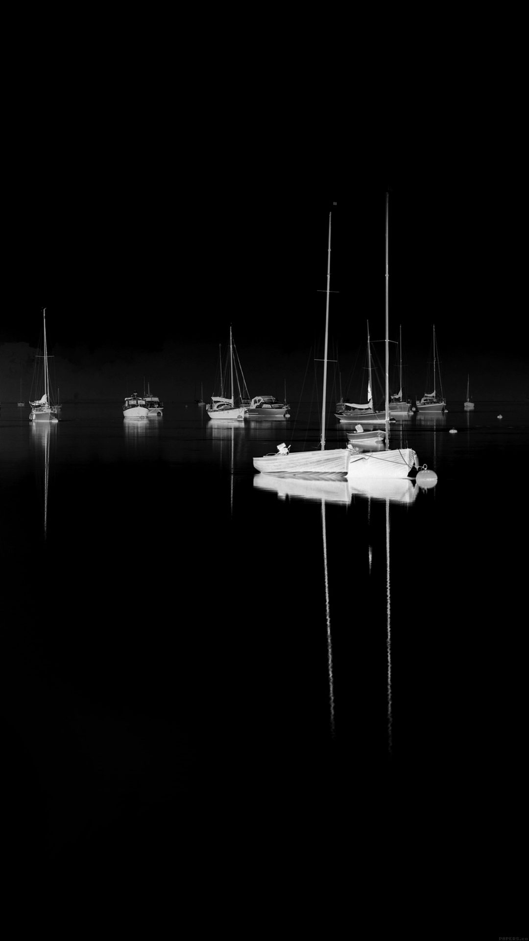 Sea Port Boats Bw Dark Nature Minimal