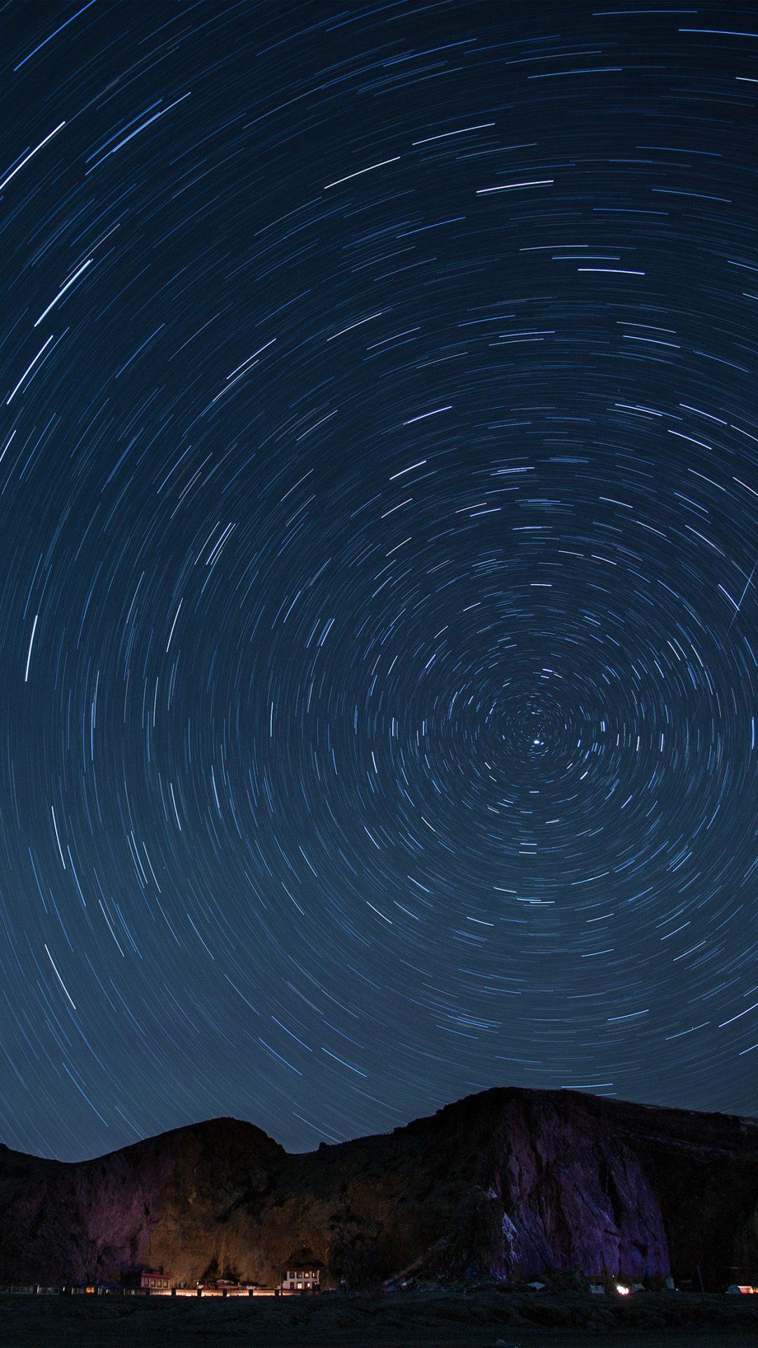 Sky Star Round Night Dark Nature Mountain