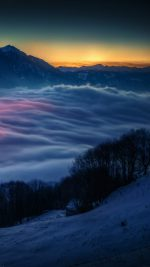 Smoky Foggy Mountain Sunrise From Sky Nature