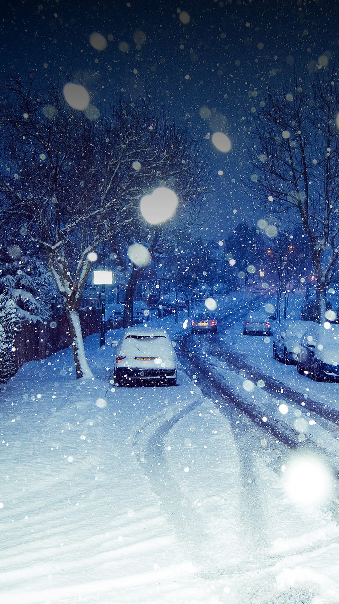 Snowy Blue Road Winter Nature