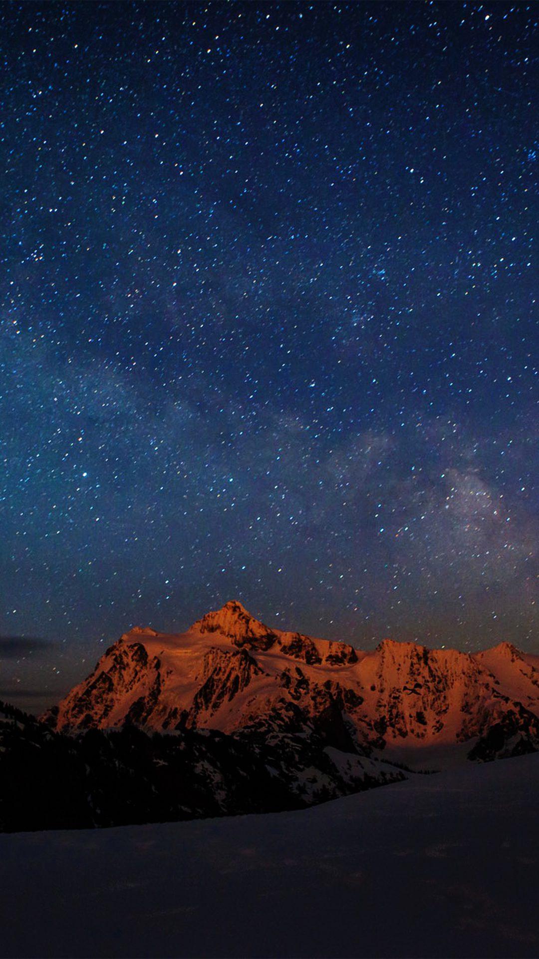 Starry Night Sky Mountain Nature