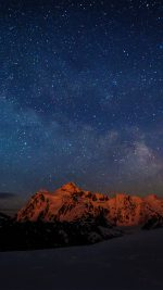 Starry Night Sky Mountain Nature