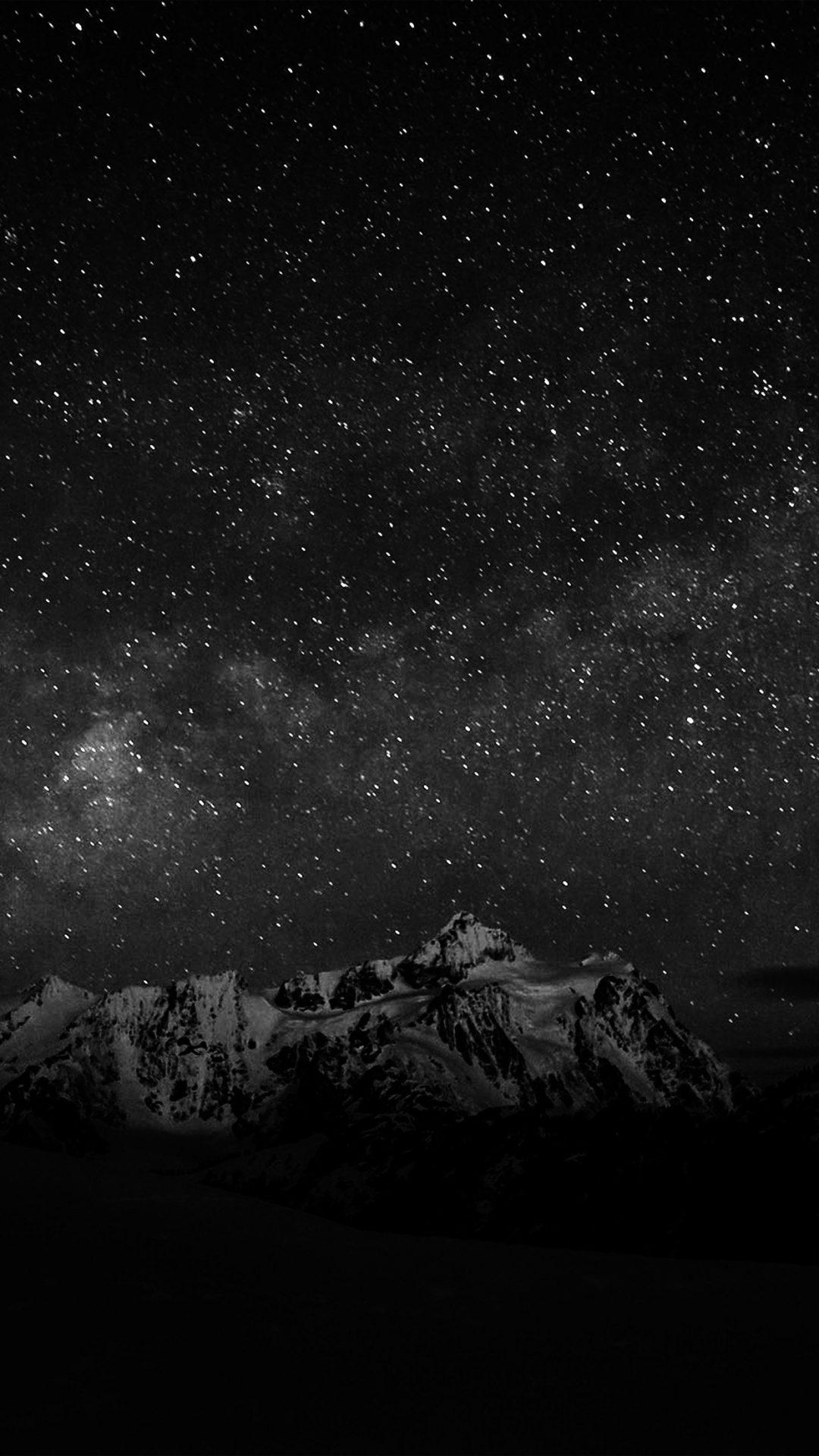 Starry Night Sky Mountain Nature Bw Dark