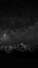 Starry Night Sky Mountain Nature Bw Dark