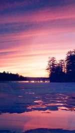 Sunset Nature Mountain Wood Red Sky Lake Flare