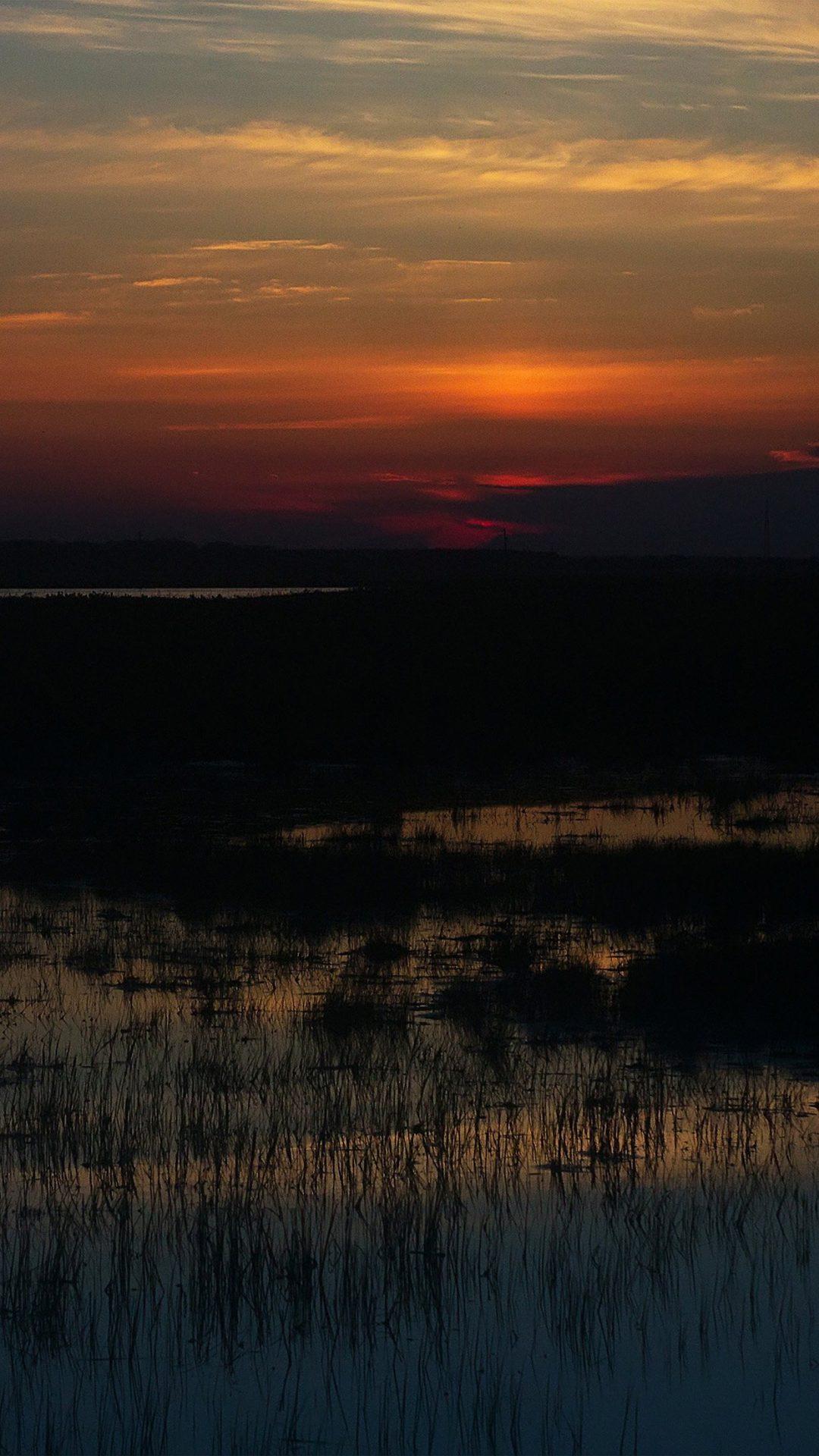 Sunset Nature River Lake Mountain