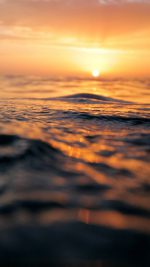 Sunset Sea Water Bokeh Orange Nature