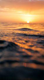 Sunset Sea Water Bokeh Orange Nature