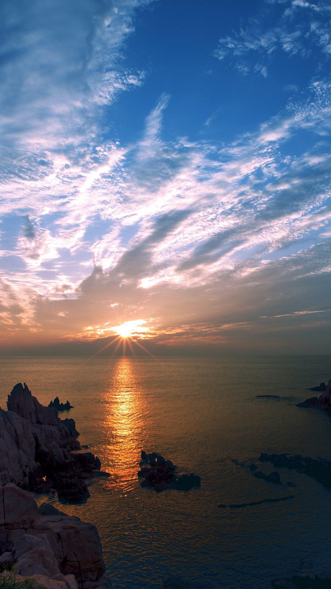 Sunset Sky Cloud Sea Rock Bridge Nature