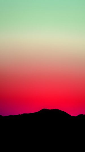Sunset Sky Minimal Nature Red Green