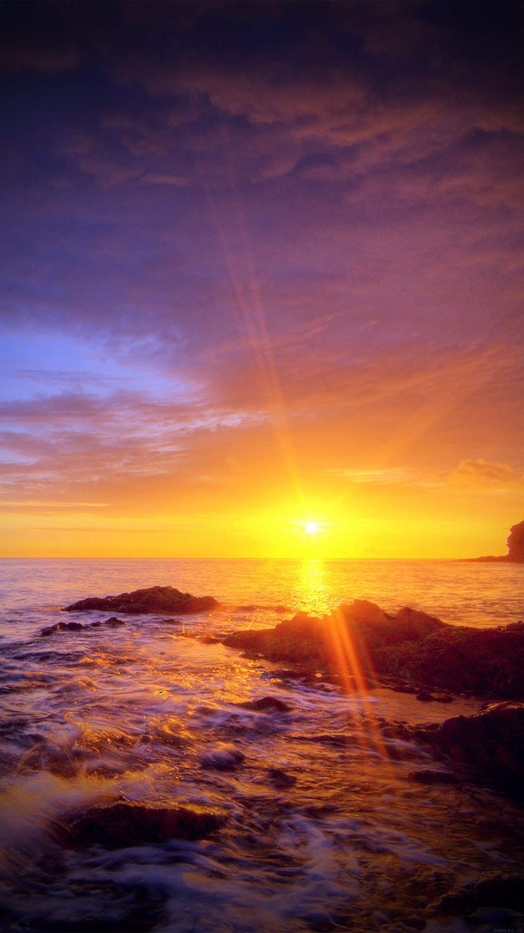 Sunshine Evening Sunset Beach Rock Nature Vignette