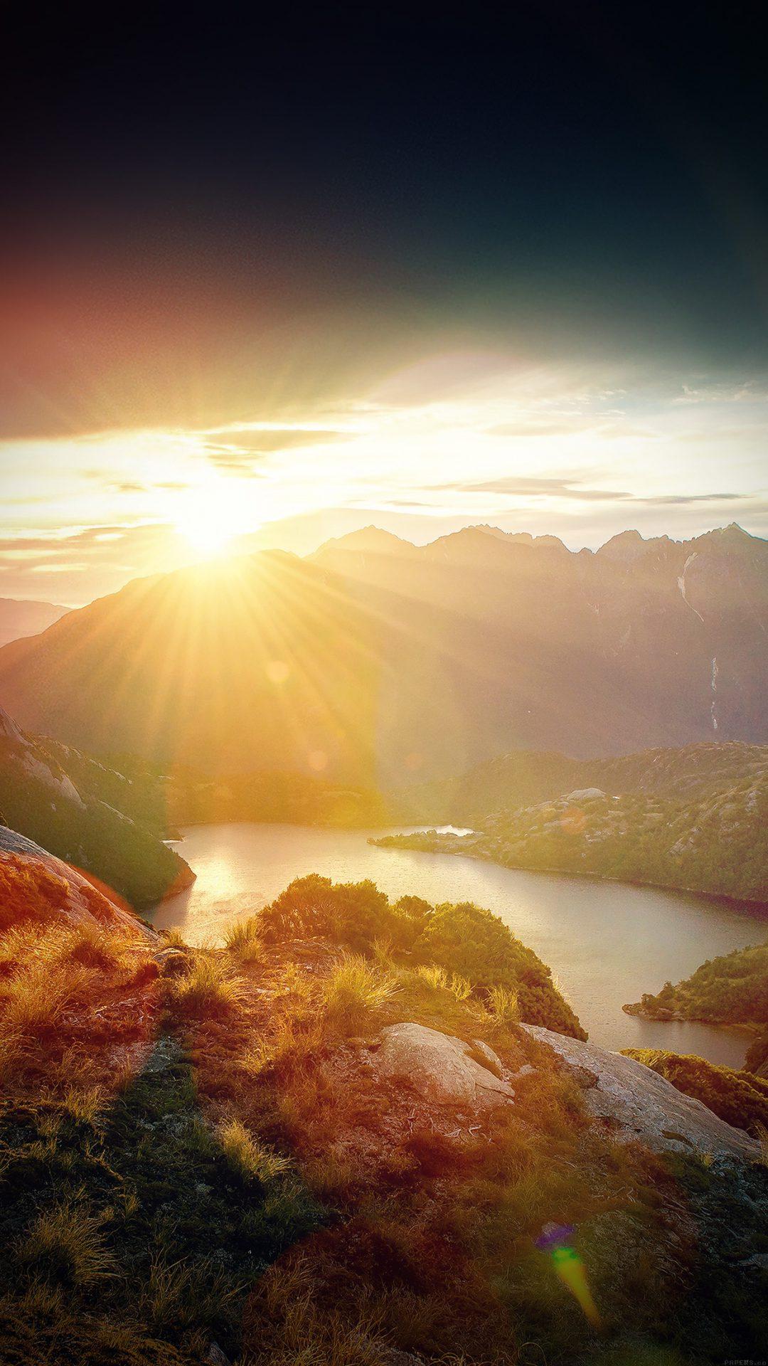 Sunshine Mountain Sky Blue Spring Nature Vignette