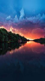 Wallpaper Lightening Reflected Lake Sea River Nature