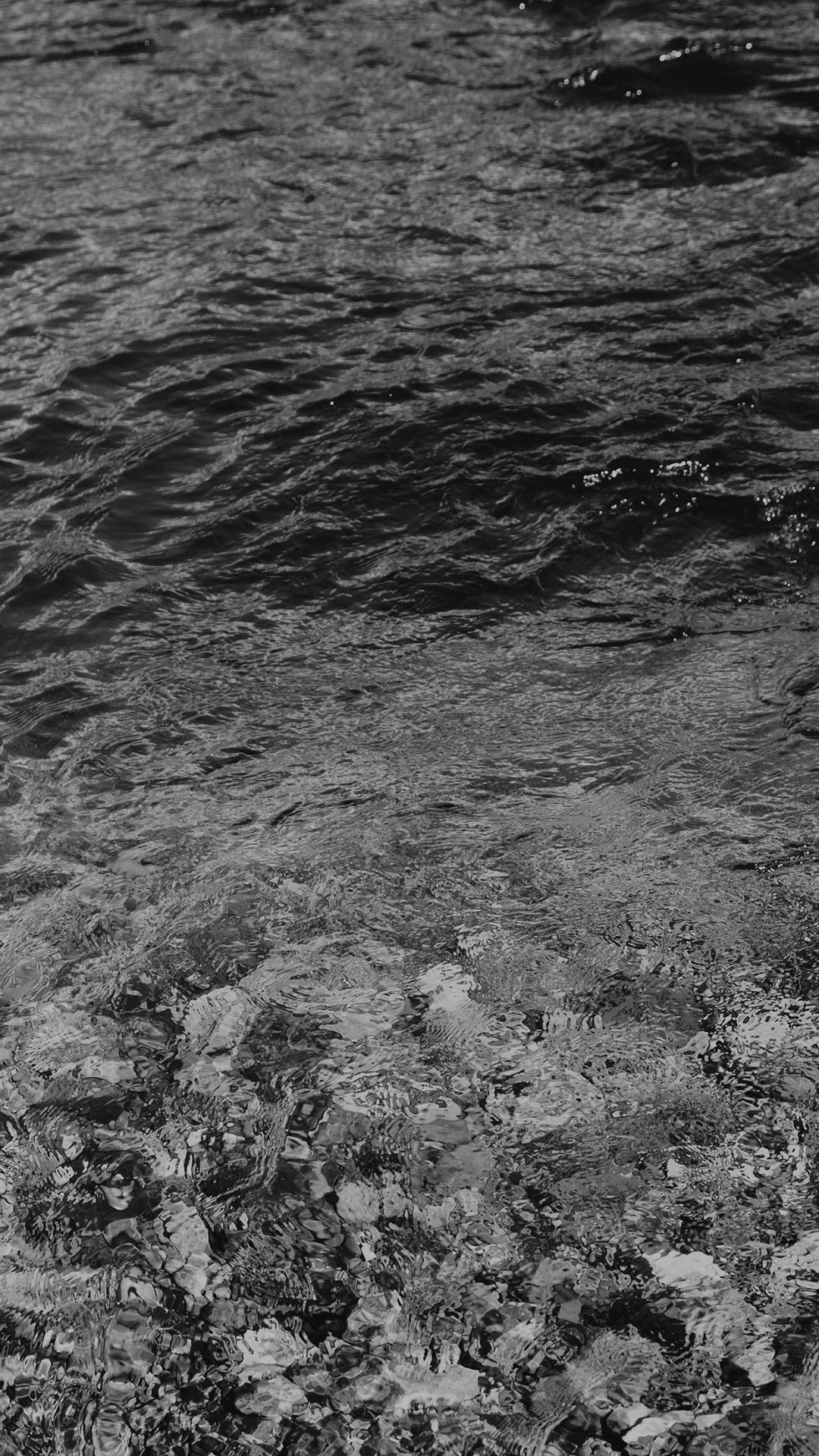 Water Ripples Sea Dark Bw Nature Pattern