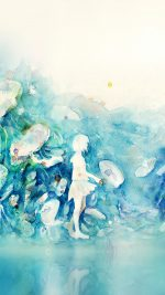 Watercolor Blue Girl Nature Art Illust