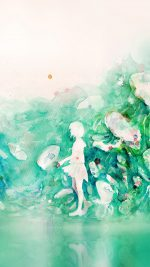 Watercolor Green Girl Nature Art Illust