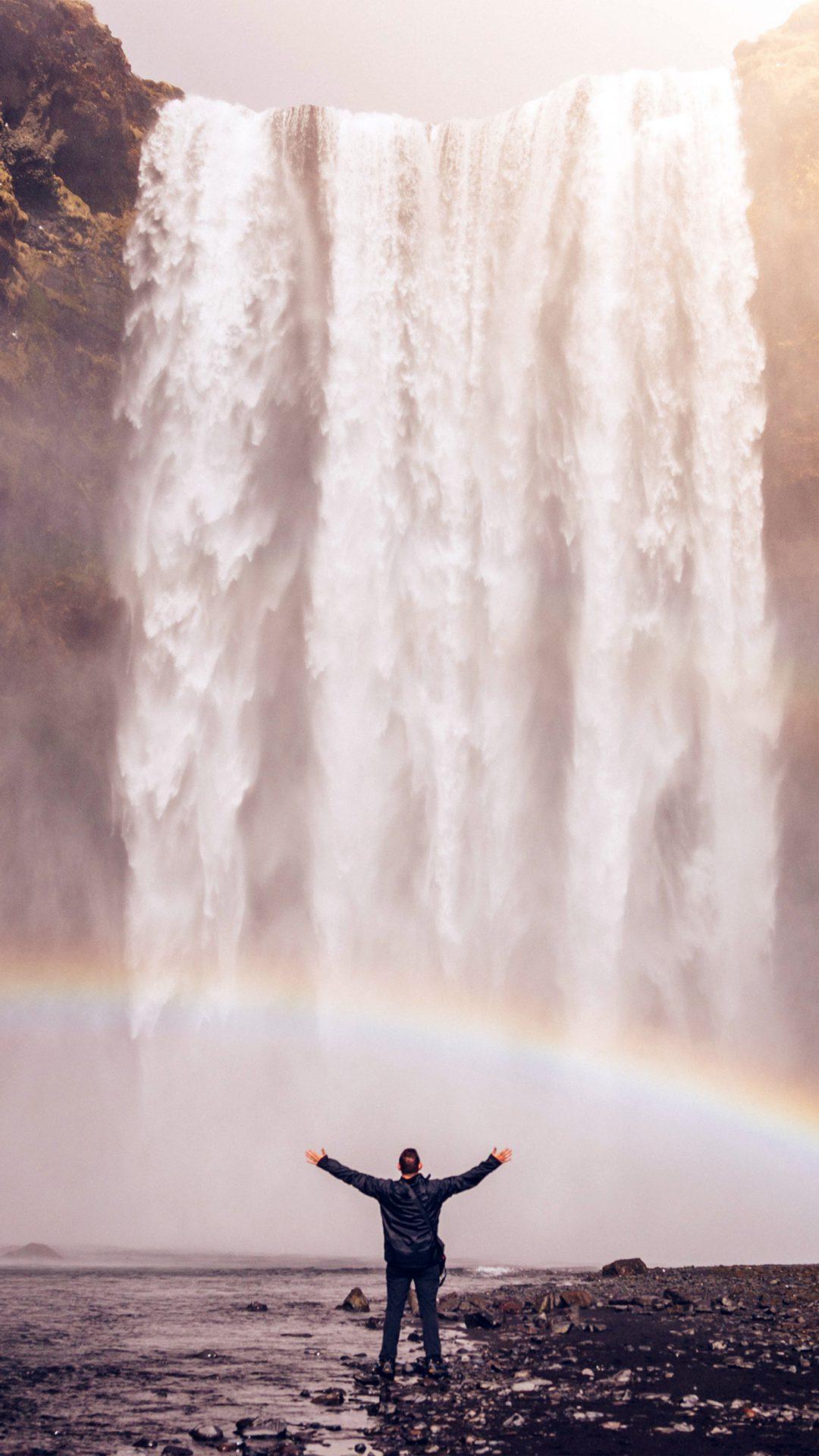 Waterfall Rainbow Nature Mountain