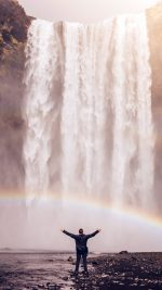 Waterfall Rainbow Nature Mountain