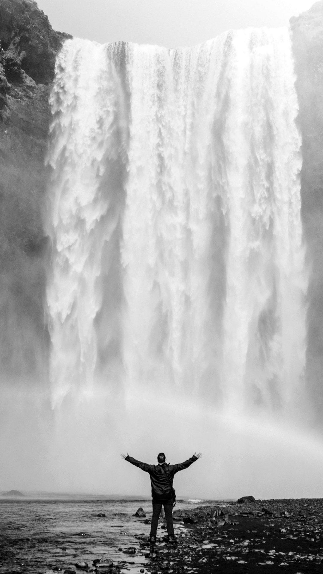 Waterfall Rainbow Nature Mountain Bw Dark