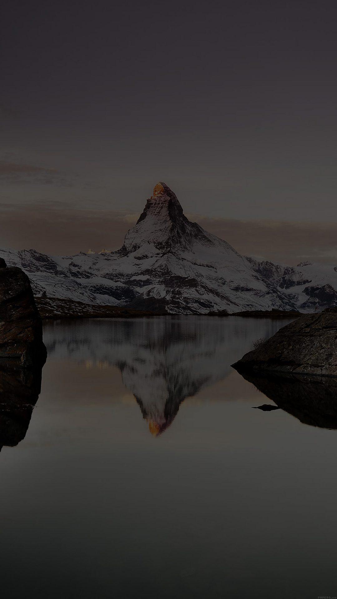 White Mountain Dark Snow Winter Lake Nature