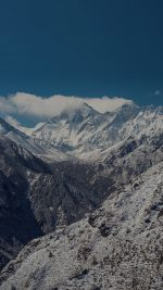 A stupa under snow (left) on the trail to Tengboche monastery (centre). Mt Everest (8850m) is making clouds just left of centre, with Lhotse (8498m) partly obscured just to the right. Far right is Ama Dablam peak.