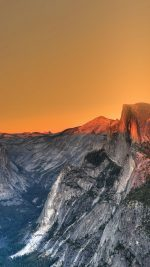 Yosemite Mountain Art Orange Sky Nature