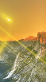 Yosemite Mountain Art Yellow Flare Sky Nature