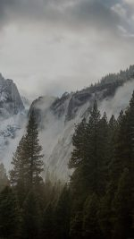 Yosemite Snow Dark Mountain Nature