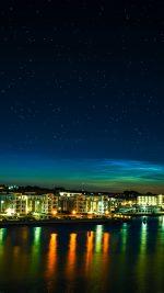 Aalborg Night Scene From Sea Dark Cityscape